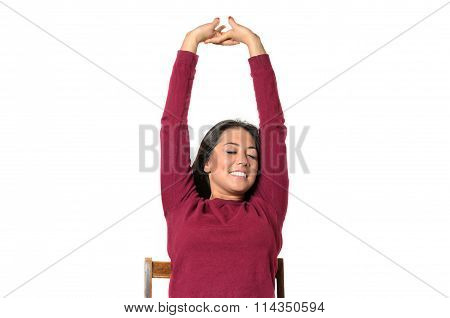 Young Woman Stretching With A Smile Of Pleasure