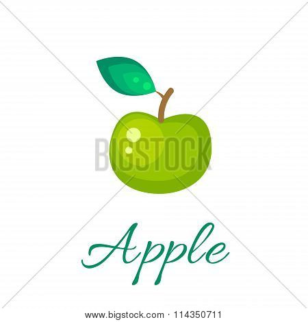 Green apple vector icon.