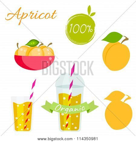 Apricot fruit and juice vector set.