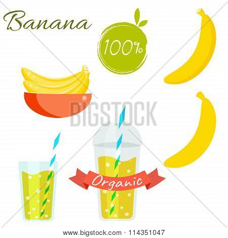 Banana fruit and juice vector set.