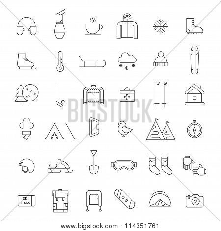 Winter Outdoor Activity And Sports Icon Set