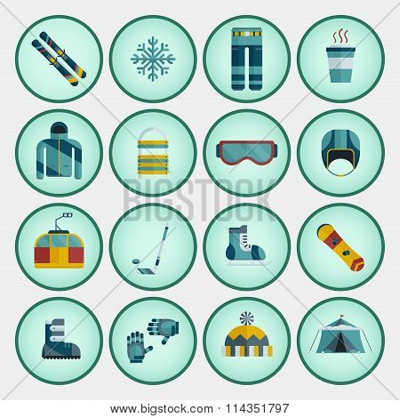 Winter Sports Flat Style Icon Set
