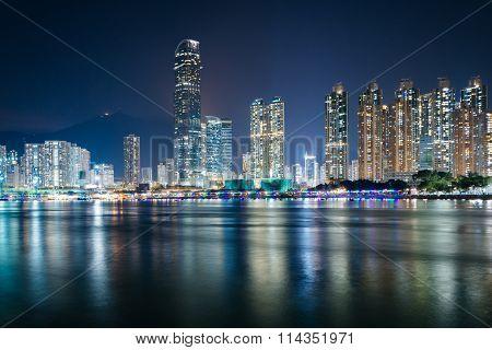 The Skyline Of Tsuen Wan At Night, Seen From Tsing Yi, Hong Kong.