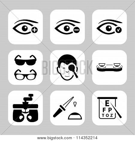 Eye Sight Vector Icons Set. Vector Symbols. Vector Illustration