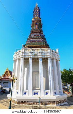 Stupas Pagoda, Pagoda Sculpture of Buddha at Wat Intharam Bangkok, Thailand