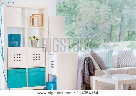Modern Shelving Unit In Room