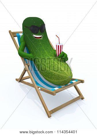 Cucumber Resting On A Beach Chair