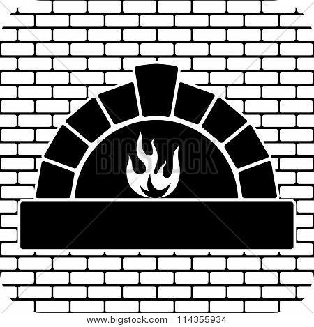 Vector Black And White Oven With Burning Fire