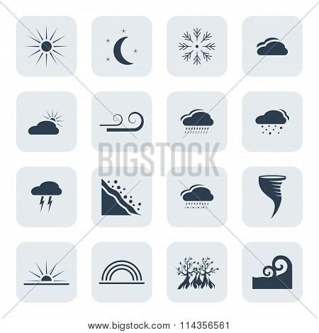 Weather And Climate Vector Icon Set. Vector Symbols. Vector Illustration