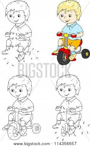 Boy Riding A Bike. Vector Illustration. Coloring And Dot To Dot Game For Kids