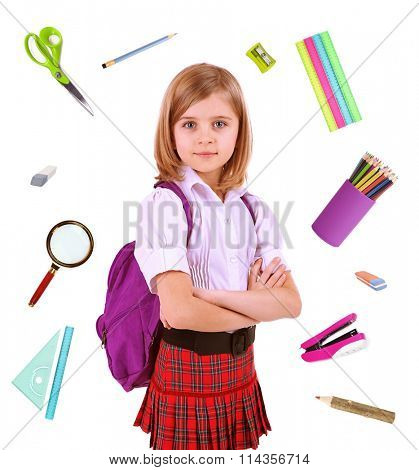 Cute schoolgirl with supplies, isolated on white