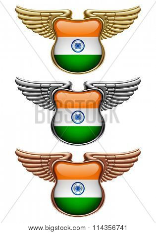 Gold, silver and bronze award signs with wings and India state flag. Vector illustration
