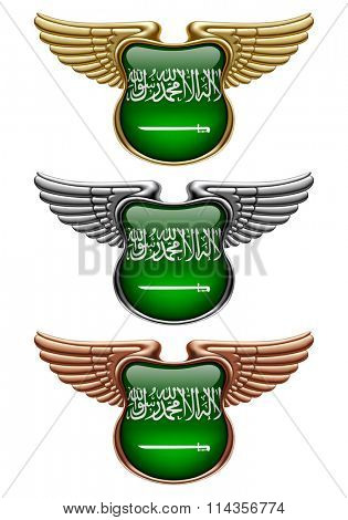 Gold, silver and bronze award signs with wings and Saudi Arabia state flag. Vector illustration