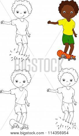 Boy On A Skateboard. Vector Illustration. Coloring And Dot To Dot Game For Kids
