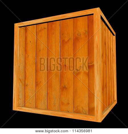 Wooden Crate On Black Background