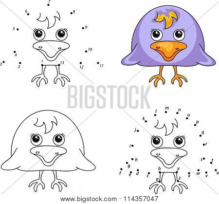 Funny Cartoon Raven. Vector Illustration. Coloring And Dot To Dot Game For Kids