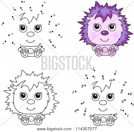 Funny Cartoon Hedgehog. Vector Illustration. Coloring And Dot To Dot Game For Kids