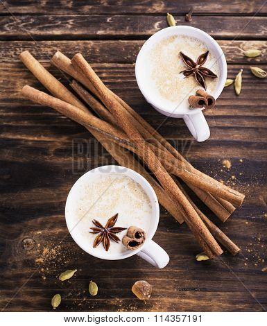 Masala tea with spices