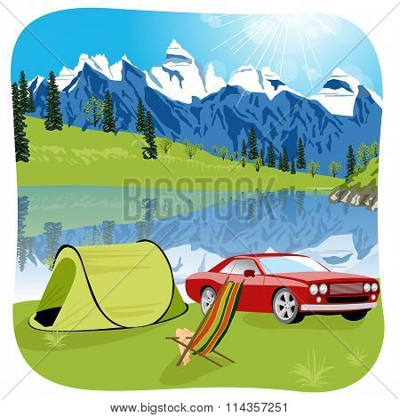 campsite with red car, tent and chaise-longue near mountain lake