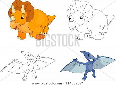 Funny Cute Pterodactyl And Triceratops. Educational Game For Kids. Coloring Book