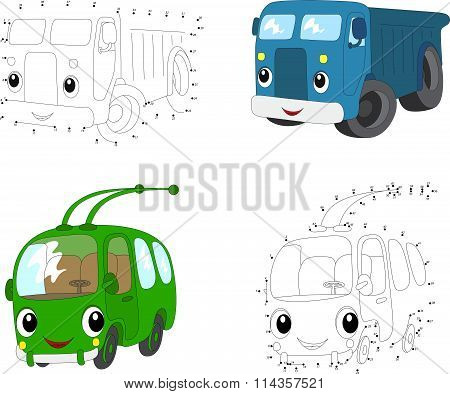 Cartoon Blue Lorry And Green Trolleybus. Vector Illustration. Dot To Dot Game For Kids