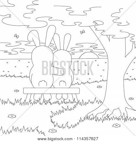 A Couple Of Hares On The Bench Admire The Sunset. Coloring Book
