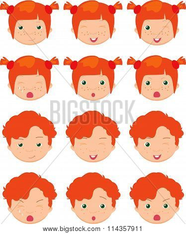 Red-haired Girl And Boy Emotions: Joy, Surprise, Fear, Sadness, Sorrow, Crying, Laughing, Cunning Wi