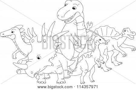 Styracosaurus, Spinosaurus, Tyrannosaur, Stegosaurus And Parasaurolophus. Coloring Book