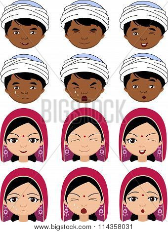 Indian Girl In A Headdress And Boy In Turban Emotions: Joy, Surprise, Fear, Sadness, Sorrow, Crying,