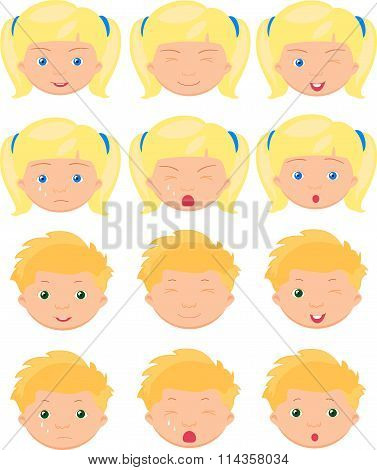 Blond Girl And Boy Emotions: Joy, Surprise, Fear, Sadness, Sorrow, Crying, Laughing, Cunning Wink