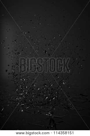 Shattered Glass On Dark Background