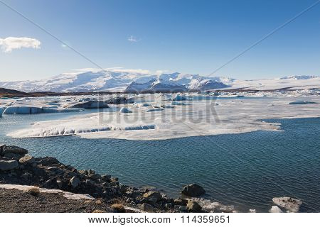 Ice lake over Jokulsarlon lagoon in Iceland