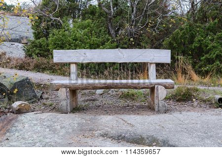 Old Bench Made Of Rustic Wood