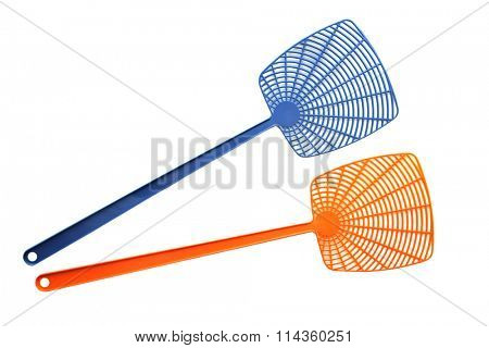 Two fly swatter isolated on white background