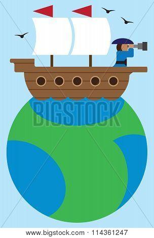 Flat Vector Ship on Globe
