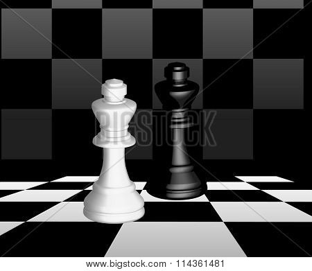 Raster of black and white chess on the chessboard