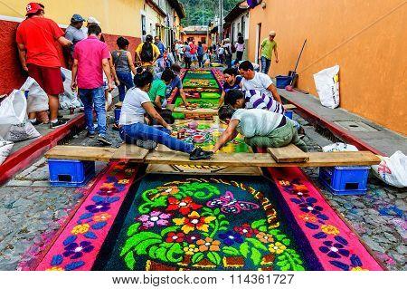 Making Holy Week Processional Carpet, Antigua, Guatemala