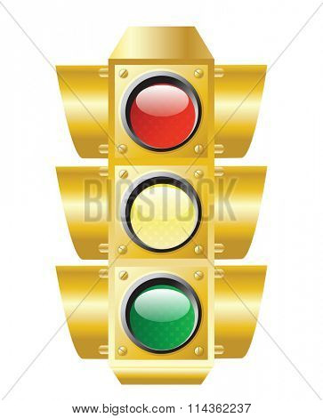 raster illustration of traffic light on white