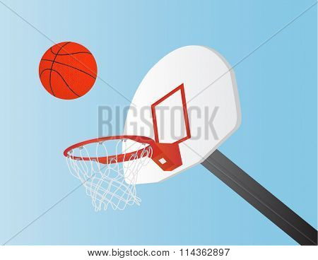 raster file of basket ball, net and backboard