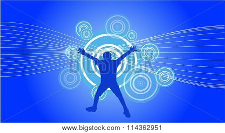 raster file of a jumping boy on abstract background