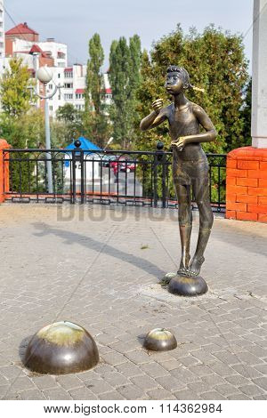 The sculpture Girl with soap bubbles. Belgorod. Russia