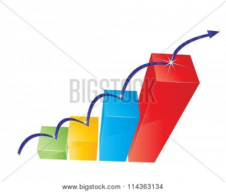 Raster illustration of colorful graph with jumping arrow
