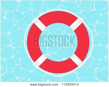 Raster illustration of a lifesaver on water background