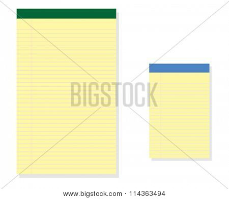 Vector illustration of two size of gold notepads