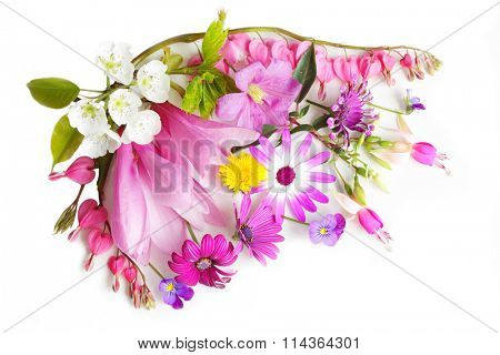 Colorful multiple flowers isolated on white background