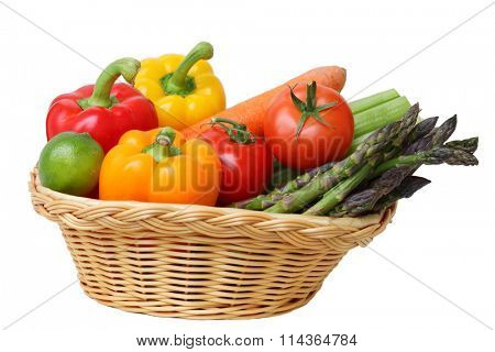 colorful vegetable in the basket isolated on white