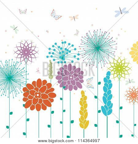 Vector Background With Spring Flowers