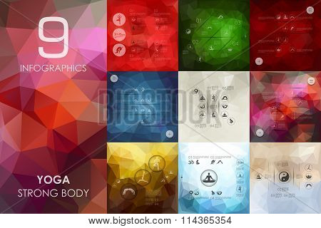 yoga infographic with unfocused background