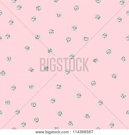 Silver shimmer glitter polka dot seamless pattern.
