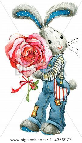 Cute bunny rabbit. Watercolor bunny rabbit and rose flower illustration. Greeting card.